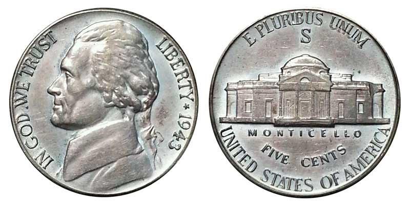 1943-S Wartime Jefferson Nickel