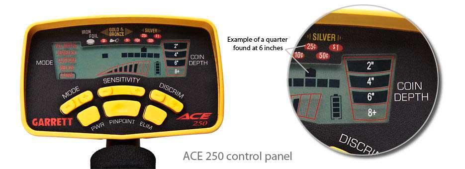 Garrett ACE 250 control panel